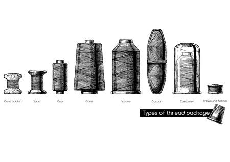 Illustrazione disegnata a mano in bianco e nero di vettore dei tipi di bobine di filo per cucire in stile vintage inciso. isolato su sfondo bianco. Vista laterale.