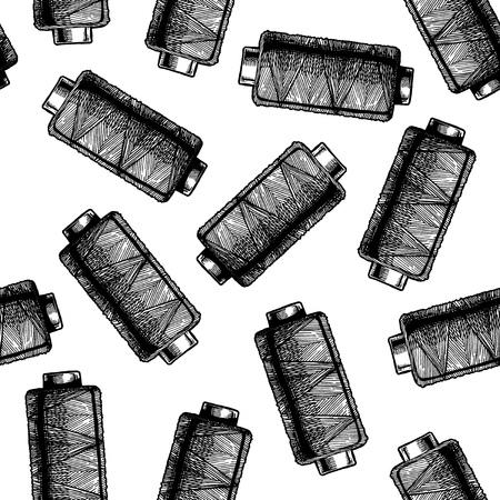 Sin costuras en blanco y negro con bobinas de hilo de coser. Ilustración vectorial en estilo vintage grabado sobre fondo blanco.
