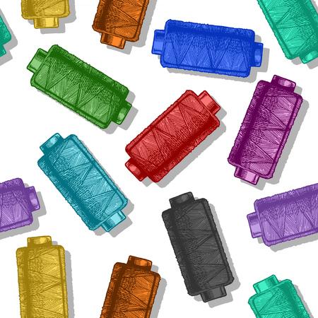 Patrón de color transparente con bobinas de hilo de coser. Ilustración vectorial en estilo vintage grabado sobre fondo blanco.