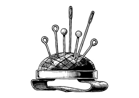 Vector black-and-white hand drawn illustration of wrist-held pincushion in vintage engraved style. isolated on white background. Side view.