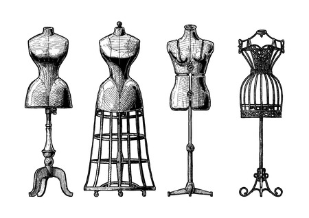 Vector black and white hand drawn illustration of mannequins set in vintage engraved style.