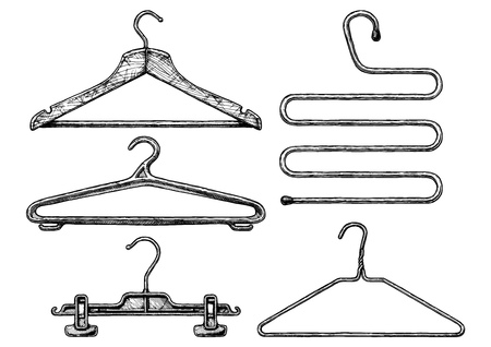 coathangers: Wooden, plastic and wire coathangers, clamp for the hanging of trousers, 5-level coat hanger. isolated on white background.