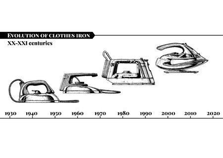 Vector hand drawn illustration of clothes irons evolution set. XX-XXI centuries. From first electrical flatiron to a modern wireless iron. Isolated on white background. Side view. Illustration