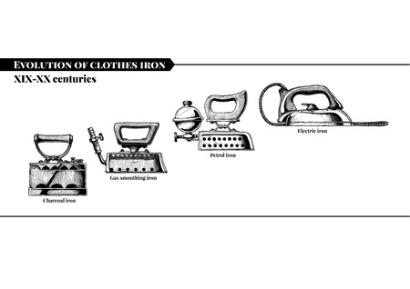 Vector hand drawn illustration of clothes iron evolution set. XIX-XX centuries. Charcoal, gas smoothing, petrol and electric irons. Isolated on white background. Side view.
