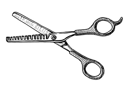 Vector hand drawn illustration of  thinning shears in vintage engraved style. isolated on white background. Black and white scissors