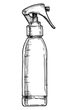 Vector hand drawn illustration of hair spray bottle in vintage engraved style. isolated on white background. Side view.