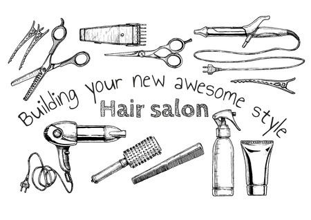 Vector hand drawn illustration of hair salon in vintage engraved style. isolated on white background. Иллюстрация
