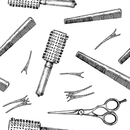 Modello in bianco e nero senza saldatura con strumenti di parrucchiere. Illustrazione vettoriale in stile vintage inciso su sfondo bianco.