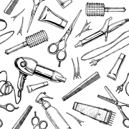 Seamless black-and-white pattern with hairdressers tools. Vector illustration in vintage engraved style on white background. Ilustração Vetorial