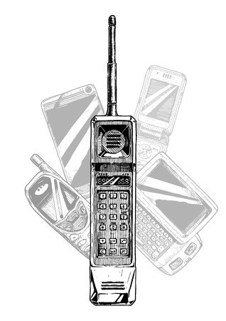 Brick phone. Vector hand drawn illustration of mobile telephone evolution in vintage engraved style. Иллюстрация