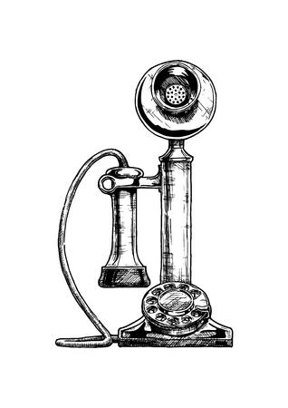 Gezeichnete Illustration des Vektors Hand des Retro- Kerzenständertelefons in der Weinlese gravierte Art. isoliert auf weißem Hintergrund.