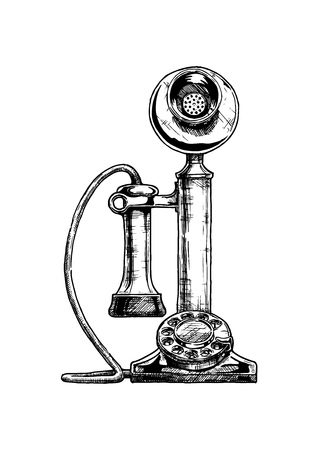 Illustrazione disegnata a mano di vettore del telefono retrò candelabro in stile vintage inciso. isolato su sfondo bianco.