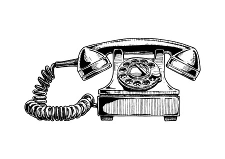 Vector hand drawn illustration of retro phone in vintage engraved style. rotary dial telephone of 1940s isolated on white background.