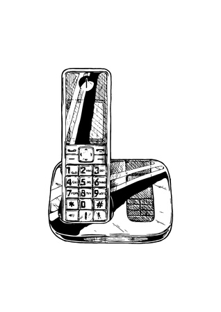Vector hand drawn illustration of modern cordless telephone in vintage engraved style. isolated on white background.