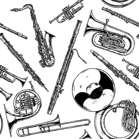Patrón sin fisuras con instrumentos de viento de madera y latón. Ilustración vectorial en estilo vintage grabado sobre fondo blanco.