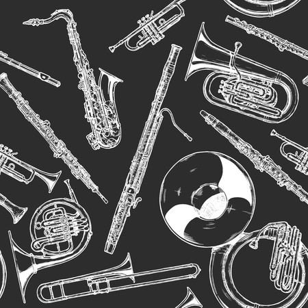Seamless pattern with woodwind and brass musical instrument illustration in vintage engraved style on black background.
