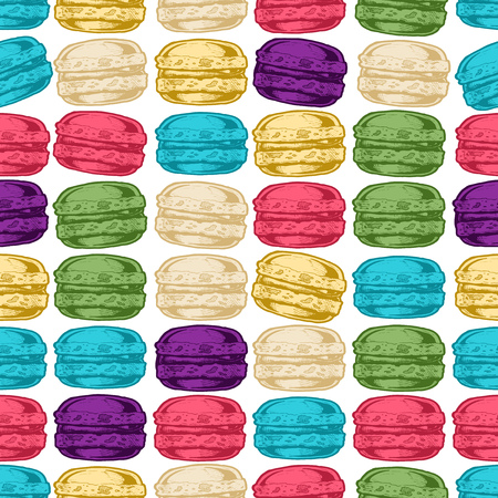 Seamless pattern with macarons in vintage engraved style on white background.