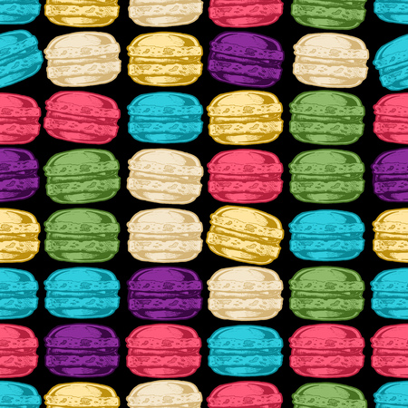 Seamless pattern with macarons in vintage engraved style on black background. Stock Illustratie