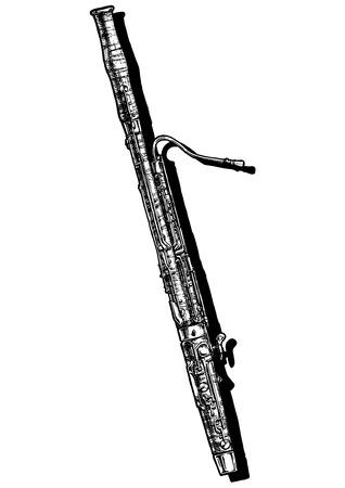 Illustrazione disegnata a mano vettoriale di fagotto. Bianco e nero, isolato su bianco.