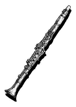 Vector hand getekende illustratie van klarinet. Zwart-wit, geïsoleerd op wit.