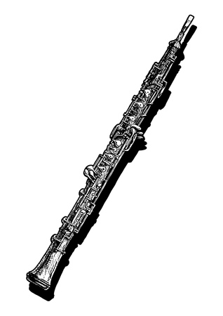 Vector hand drawn illustration of oboe. Black and white, isolated on white. Stock Illustratie