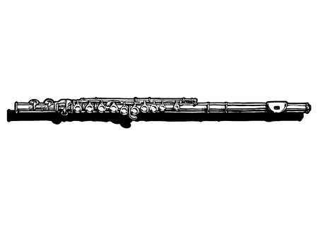 woodwind: Vector hand drawn illustration of  flute. Black and white, isolated on white.