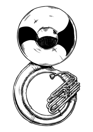 A vector hand drawn illustration of sousaphone. Black and white, isolated on white.
