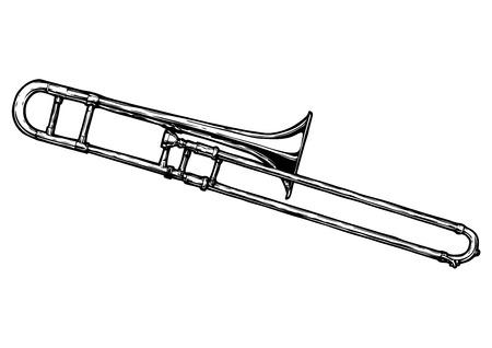 Een vector hand getekende illustratie van trombone. Zwart-wit, geïsoleerd op wit.
