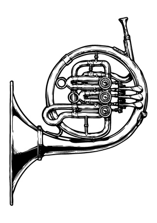 Vector hand drawn illustration of french horn. Black and white, isolated on white.