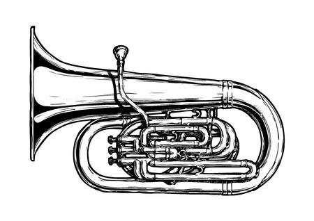 Een vectordiehand in zwart-witte illustratie van tuba wordt getrokken, op wit wordt geïsoleerd.