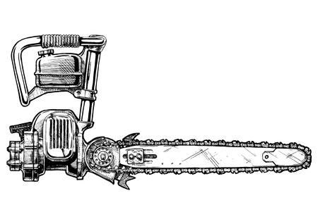A vector hand drawn illustration of retro chainsaw in vintage engraved style. isolated on white background. Side view. Illustration