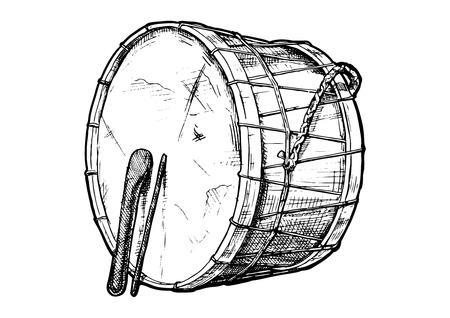 Vector hand getekende illustratie van davul (tupan) in vintage gegraveerde stijl. geïsoleerd op witte achtergrond.