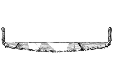 Vector hand drawn illustration of crosscut saw in vintage engraved style. isolated on white background.