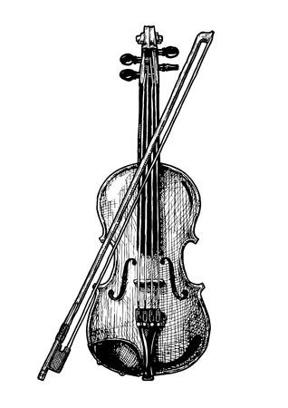 Een vector hand getekende illustratie van klassieke akoestische viool met boog in vintage gegraveerde stijl. geïsoleerd op een witte achtergrond.