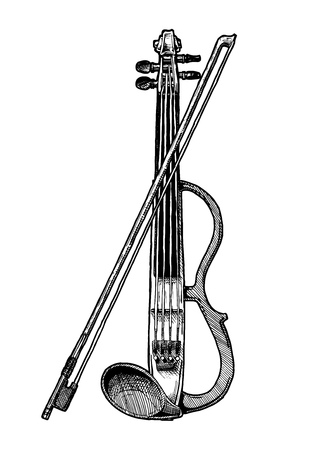 Vector hand drawn illustration of electric violin with bow in vintage engraved style. isolated on white background.