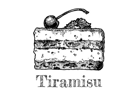 A vector hand drawn illustration of tiramisu in vintage engraved style. isolated on white background. 일러스트