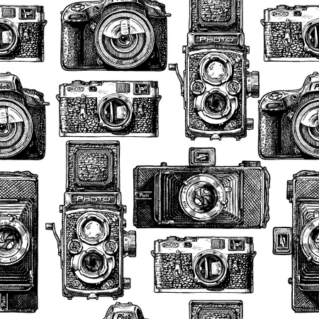 Seamless pattern with photo cameras. Vector illustration in vintage engraved style on white background.