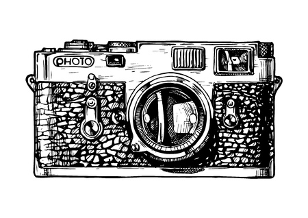 Vector hand drawn sketch of rangefinder camera in vintage engraved style on white background Ilustracja