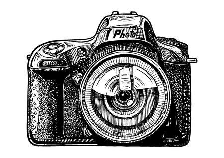 Vector hand drawn sketch of SLR photo camera in vintage engraved style on white background. Illustration