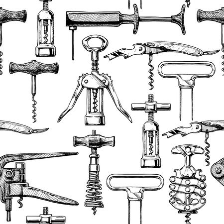 continue: Seamless pattern with different corkscrews. Vector illustration in vintage engraved style.