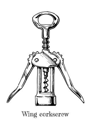 Vector hand drawn illustration of wing corkscrew in vintage engraved style on white background. Illusztráció