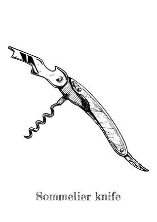 Vector hand drawn illustration of corkscrew. Sommelier knife in vintage engraved style on white background.