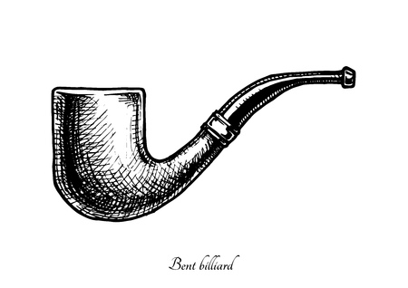 paul: Vector hand drawn illustration of bent billiard shape pipe. Also known as Oom Paul. isolated on white background.