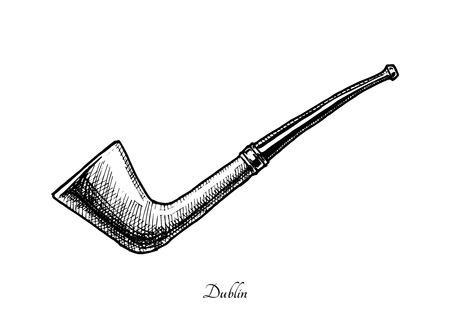 Vector hand drawn illustration of dublin shape pipe. Also known as Oom Paul. isolated on white background. Illustration