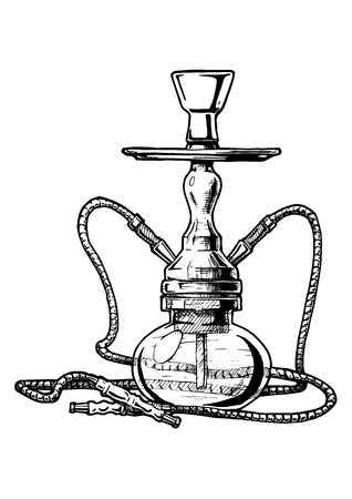 inhale: Vector hand drawn sketch of hookah in vintage engraved style. isolated on white background.