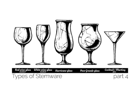 Types of Stemware. Wine glass, hurricane, poco grande and cocktail glasses. illustration of stemwares in vintage engraved style. isolated on white background.