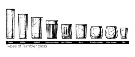 Types of tumbler glass. Vector hand drawn illustration of tumblers in vintage engraved style. isolated on white background. Zdjęcie Seryjne - 81762042