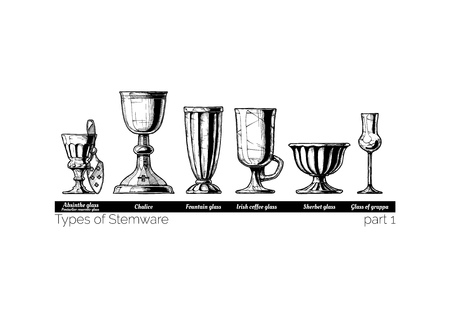 Types of Stemware. Vector hand drawn illustration of stemwares in vintage engraved style. isolated on white background.
