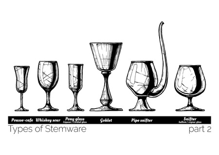 Types of Stemware. Pousse-cafe, whiskey sour, pony glass, goblet, pipe snifter and balloon. illustration of stemwares in vintage engraved style. isolated on white background.