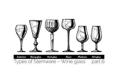 Types of wine glass. Sauternes, sherry, hock, alsace, madeiera and port glasses. illustration of stemwares in vintage engraved style. isolated on white background. Vettoriali